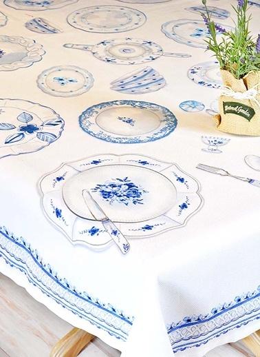 Masa Örtüsü - Mavi 140 x 140 cm-The Mia